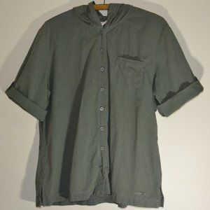 Cotton Ginny Eco-Ganic Green Rolled up Sleeve Top